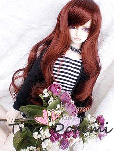 "1/3 8-9"" Dal Pullip BJD SD DZ DOD LUTS dollfie Doll long brown wig hair E70"