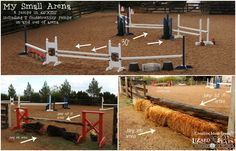 """Small arena, small budget, cool jumps!  8 jumps in a 60'x120' arena while still leaving room for 20m circle and quarter line work.  DIY jumps made from warped cracked 4x4's in the wood pile, dollar store flowers and oops paint.  Two """"cross country"""" jumps are placed where the gate panels have been moved back...jump out of arena gallop barnyard and jump back in!  #horsejumps #jumpcourse  #diyjumps"""