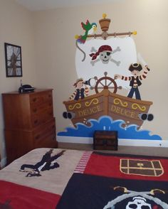These adventurous buccaneers are sailing the high seas in this cute DIY wall mural.