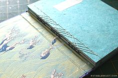 Stab bound journals with waves yuzen paper - Travel Journal with Case by Ruth Bleakley