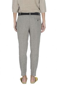 YARN-DYED LINEN BLEND TROUSERS - Woman - Second Season | Stefanel