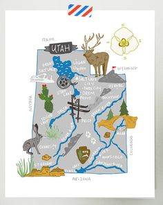 Utah illustrated map by helloniccoco on etsy Utah Map, Salt City, Country Maps, City Maps, Travel Maps, Cartography, Map Art, Plans, Me On A Map
