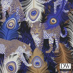 A fantastical composition of leopards stalking between peacock feathers.