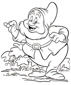 Kids Under 7: Snow White and the Seven Dwarfs Coloring Pages. Part 1