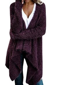 Women Solid Long Sleeve Open Front Chunky Knit Sweater Draped Cardigan