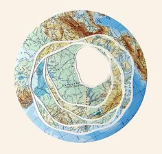 Shannon Rankin lives in Rangeley, ME and creates collages, drawings and installations using cut and folded maps. The results might resemble a quilt, a Fibonacci sequence, an anatomical drawing, or a map of an imaginary location