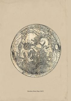 Hevelius Moon Map Astronomy Print Recovered Vintage Image A3 to Frame. $22.00, via Etsy.