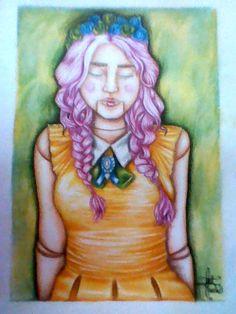 Marioneta, hecha con colores, marcador y tiza pastel sobre cartulina Ivett Mendez https://www.facebook.com/IvettMendezArte/