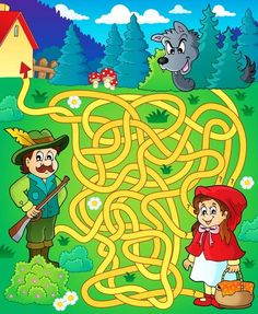 Maze 20 with fairy tale theme - picture illustration. Dyslexia Activities, Fall Preschool Activities, Language Activities, Fairy Tale Theme, Fairy Tales, Art Et Illustration, Illustrations, Maze Drawing, Fairy Tale Activities