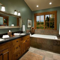 Green Bathroom Color Ideas dark wood trim design ideas, pictures, remodel, and decor - page 3