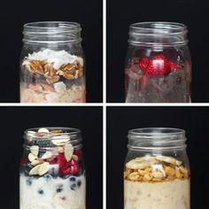 Overnight oats 4 ways oatmeal recipes, snack recipes, breakfast recipes, healthy snacks, Healthy Meal Prep, Healthy Breakfast Recipes, Healthy Snacks, Healthy Eating, Healthy Recipes, Healthy Weight, Meal Prep Menu, Snacks Kids, Healthy Yogurt
