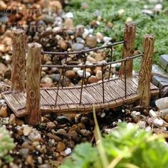 Gardening Diy Miniature Suspension Bridge for Fairy Garden - The Woodland Suspension Bridge is high x 1 wide x long and made of colorfast resin and wire for use indoors or out. Fairy Garden Furniture, Fairy Garden Houses, Garden Gates, Garden Bridge, Sloped Garden, Fairy Garden Accessories, Diy Garden Projects, Craft Projects, Miniature Fairy Gardens