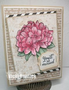 stamped on naturals cs, colored with melon mambo and garden green inks, sentiment from Wild about Flowers, label bracket punch