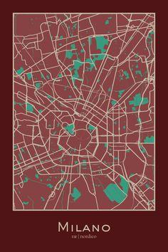 Milan, Italy Map Print