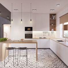 Modern Kitchen Idea cucina scandinava moderna in bianco, nero e legno con piastrelle eclettici - appartamento moderno Modern Kitchen Design, Interior Design Kitchen, Modern Interior Design, Kitchen Designs, Stylish Interior, Contemporary Design, Bar Interior, Simple Interior, Room Interior