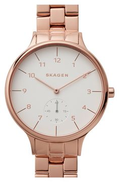Rose gold shines stunningly when paired with a simple, round face. This watch from Skagen is simply perfection!