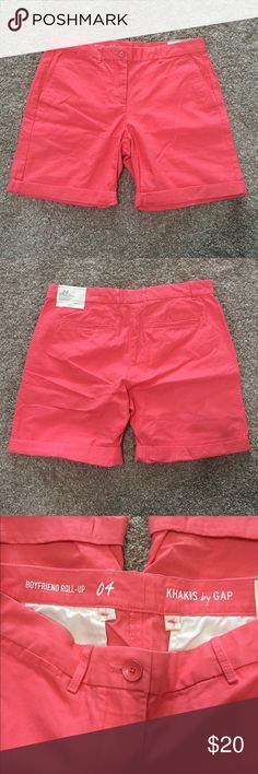 Gap Boyfriend Roll Up Shorts Gap roll up boyfriend shorts in a pretty coral color. Brand new with tags, never worn. Smoke free home. GAP Shorts