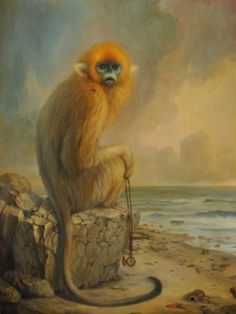Wittfooth's oil paintings explore disquieting themes of industry and nature, unhinged evolution, the clash of old ideologies with modern fears, and the growing shadow of the human footprint on the earth. Martin Wittfooth, Monkey World, Monkey Art, Flotsam And Jetsam, Lovely Creatures, Lowbrow Art, Pop Surrealism, Magritte, Animal Paintings