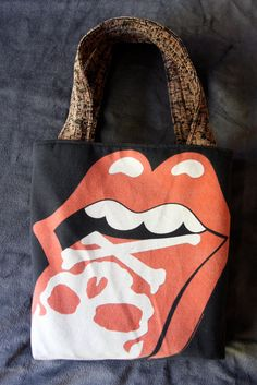 ROLLING STONES Upcycled Rock Band Tshirt Tote Bag by evilrose Band Shirts 846446d02