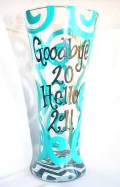 21st Birthday Chevron Personalized Custom Name 21 Birthday Wine Glass Beer Mug on Etsy, $15.00