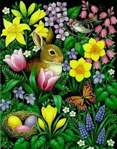 Art by Stephanie Stouffer Easter Bunny Pictures, Bunny Pics, Easter Wallpaper, Art Pictures, Photos, Bunny Art, Vintage Easter, Chalk Art, Animal Paintings