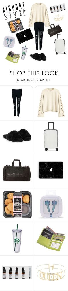 """""""plane style"""" by styleadventure45 ❤ liked on Polyvore featuring WithChic, Nasty Gal, CalPak, adidas, Forever 21, Royce Leather and airportstyle"""