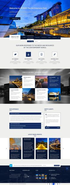 Buy Renar - Premium Architect PSD Template by AndiG on ThemeForest. Renar is a design for an architecture firm. It can be use as well for corporate websites. It includes many features a. Website Layout, Web Layout, Layout Design, Website Ideas, Minimal Web Design, Web Ui Design, Page Design, Flat Design, Design Design