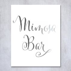 Mimosa Bar Silver Foil Sign Art Print Wedding Reception Signage Bridal Shower Party Brunch & Bubbly Poster Decor 8 inches x 10 inches. Digibuddha(TM) real foil art prints are made by hand in our small shop just outside of Philadelphia. • Made with gorgeous luxe silver foil and premium pure white matte card stock. • Prints arrive unmatted, ready to be placed in your favorite frame. • Original design: all Digibuddha(TM) paper goods are exclusively created in-house by our design team.