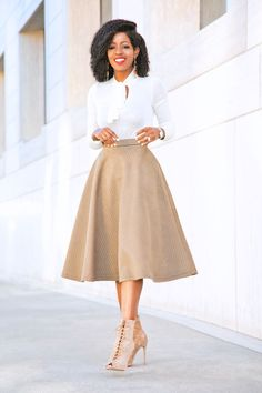 Tie Front Sweater + Quilt Midi Skirt