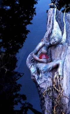 The Sacred Seed, Driftwood Sculpture by Debra Bernier