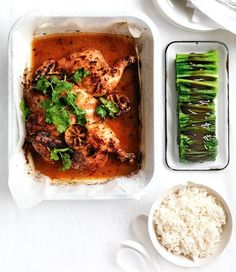 Chilli-Roasted chicken with lemon grass and roasted limes
