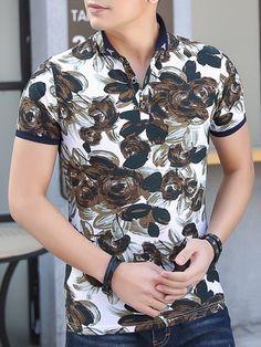 8f168d72c4c Floral Vogue Stand Collar Slim Men s T-Shirt..  StyleChicSassy Collar Shirts