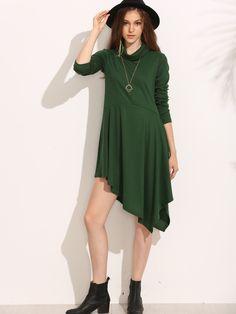 8.89$  Watch now - http://di1pv.justgood.pw/go.php?t=5336 - Green Turtleneck Asymmetric Hem Swing Dress