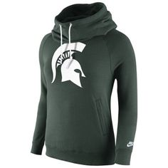 Michigan State Spartans Nike Womens Rally Funnel Hood-Rewind Sweatshirt – Green