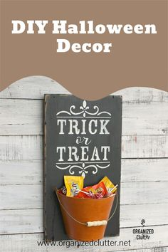 A cast off sign and a half bucket wall planter combine in a Trick or Treat stencil Halloween project! Great to fill with candy or fall foliage. #upcycle #falldecor #falldiy #stencil Halloween Projects, Diy Halloween Decorations, Halloween Crafts, Craft Projects, Coffee Signs, Diy Signs, Fall Diy, Trick Or Treat, Decorating Tips