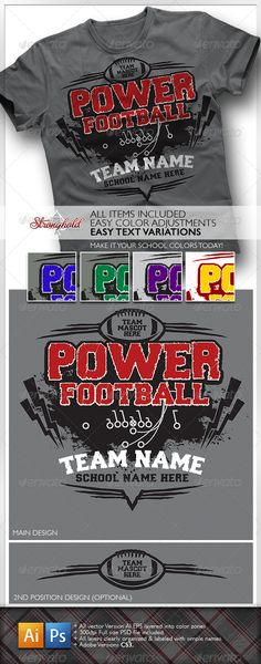 Power Football T-Shirt #GraphicRiver Stronghold Branding: INCLUDED : + ONE – ADOBE ILLUSTRATOR CS3 FILE + ONE – ADOBE PHOTOSHOP CS3 FILE (BOTH LAYOUT FILES ARE 300DPI OR BETTER AND CLEARY LAYERED INTO COLOR ZONES BASED ON DESIGN LAYOUT , WITH EDITABLE TEXT .) + EASILY CHANGE TO MATCH YOUR SCHOOLS COLORS AND MASCOT . + FONT USED WILL BE EASILY FOUND AT EITHER : (Forever Black): .fontriver /font/forever_black/ – WWW .FONTRIVER.COM – WWW .EAGLEFONTS.COM + FILES WILL BE GREAT TO PULL ELEMENTS…