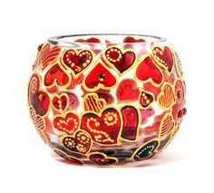 Hand Painted Glass Bowl Hearts by ColoredGlassByOlia on Etsy, $55.00