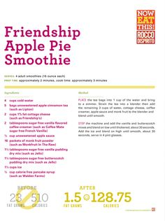Rocco DiSpirito's Friendship Apple Pie Smoothie  made with Monk Fruit In The Raw®