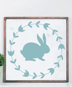 This White & Aqua Bunny Framed Plaque is perfect! #zulilyfinds