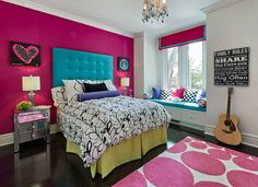 Hot Lips Hot pink makes a fabulous accent wall. Highlighted by Benjamin Moore's Cloud White, this hot pink featured wall grab the center stage framing the glam, turquoise bed and the reflective chrome dresser giving the entire space a fascinating and elegant look