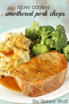 Slow Cooker Smothered San Francisco Pork Chops on SixSistersStuff.com