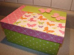 Girl Butterfly Memory or Keepsake Box - Papier Mache box with butterfly, polka dot, stripe, and solid print papers and 3 D Butterflies. $22.00, via Etsy.