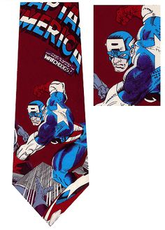 Our Marvel Comics Captain America silk tie is really cool.  When wearing one of these neckties you won't need super hero strength to catch all of the attention at work or play.   If giving a gift to someone special who loves comic books or is just a Captain America fan then this is the perfect accessory.This licensed Marvel Comics classic super hero tie is a collector item no longer made
