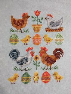 Cross Stitch Sampler Patterns, Cross Stitch Borders, Cross Stitch Samplers, Cross Stitch Designs, Cross Stitching, Cross Stitch Embroidery, Cat Cross Stitches, Cross Stitch Charts, Rooster Cross Stitch