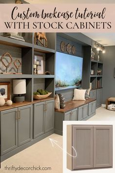 How to build beautiful bookcases and built ins with stock upper cabinets Wall Cabinets Living Room, Living Room Wall Units, Living Room Storage, Living Rooms, Bookcase Wall, Built In Bookcase, Diy Bookcases, Basement Remodel Diy, Basement Remodeling