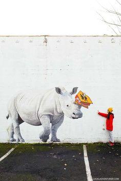 Josh Keyes Rhino Mural (25 Best Instagram Spots in Portland Oregon) // http://localadventurer.com