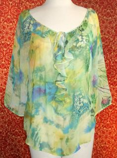 ERIC SIGNATURE green butterfly wings polyester 3/4 sleeve tunic 10 (T2504E5G) #ERICSIGNATURE #Blouse #Casual