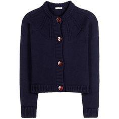 Miu Miu Virgin Wool Cardigan ($715) ❤ liked on Polyvore featuring tops, cardigans, blue, miu miu cardigan, navy blue cardigan, navy cardigan, blue top and cardigan top
