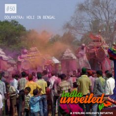 Holi in Bengal is celebrated as Dolayatra. As the name indicates, images of gods are placed on decorative platforms and taken on a procession. Women dance around and sing special songs as men spray coloured water at them. It is also the last festival in the Bengali calendar year. According to local legend, Lord Krishna expressed his love for his beloved Radha on the day of Dolayatra.  To download and read more India Unveiled stories visit www.indiaunveiled.org
