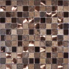 Brown Noce Marble/Brush Copper Mosaic Bathroom Tiles